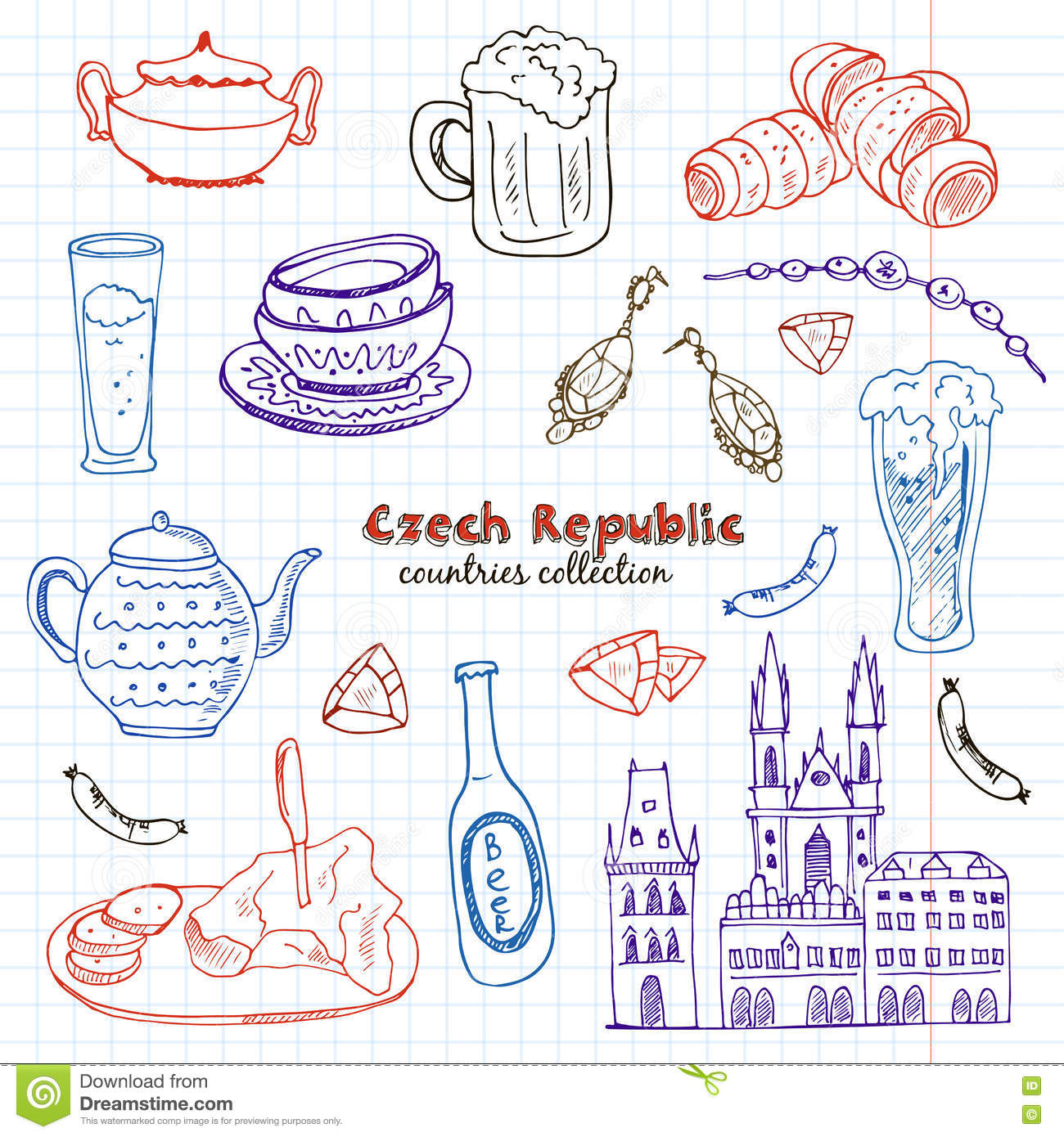 Hand Drawn Doodle Czech Republic Travel Set Stock Vector