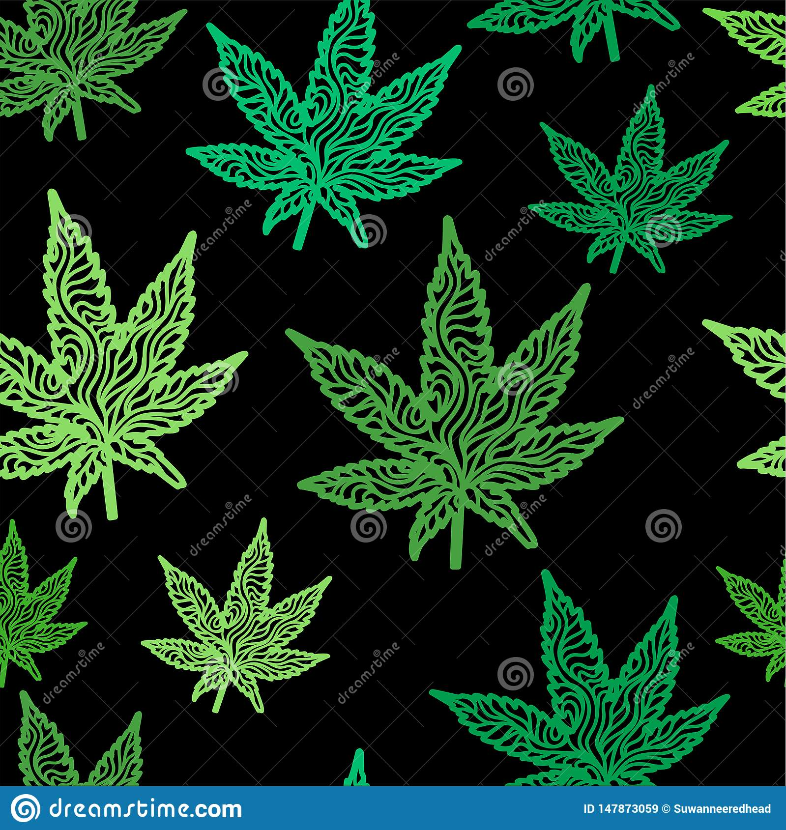 Green Zen Cannabis Leaf Seamless Pattern Stock Vector Illustration Of Relaxation Recreational 147873059