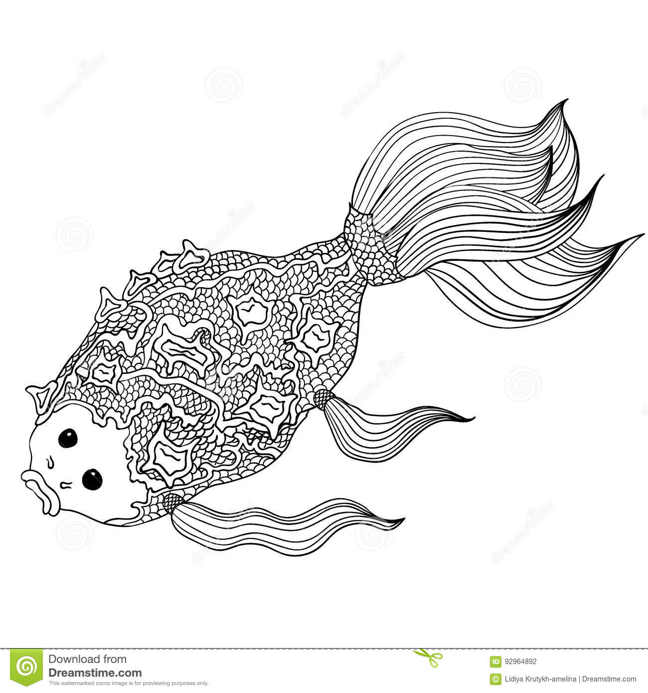 Hand drawn doodle fish lines editable