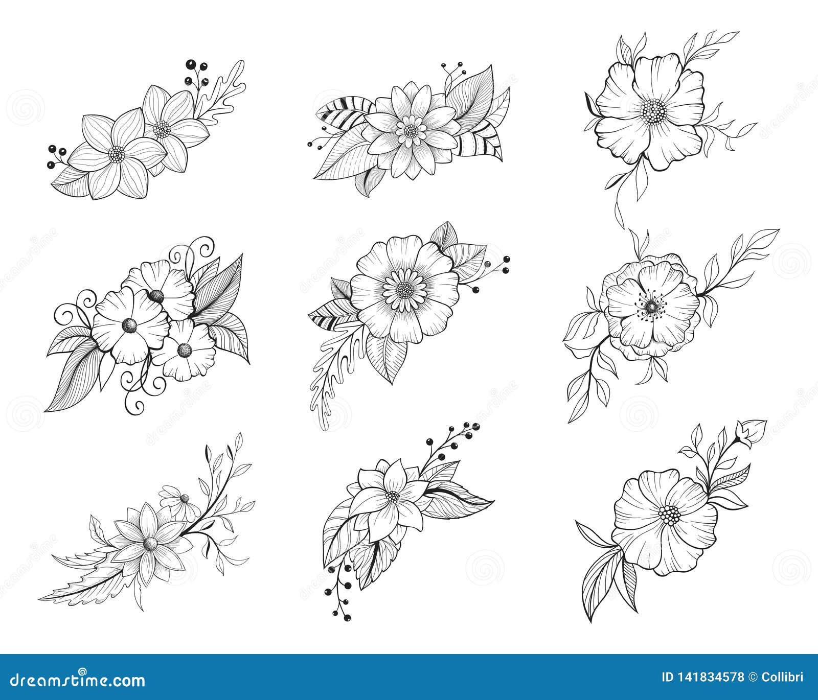 Hand Drawn Doodle Floral Element Collection Flower Bouquet
