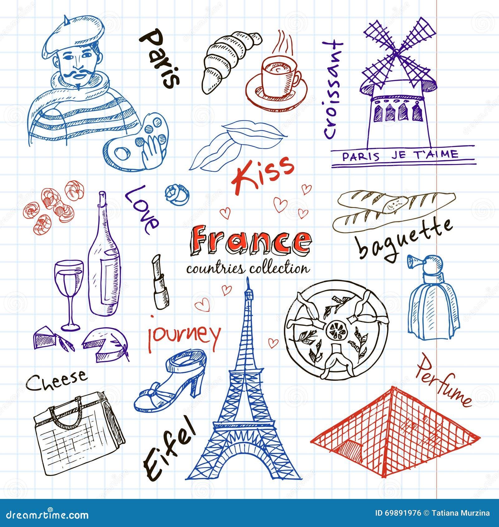 Hand drawn doodle france symbols set stock vector - Simboli di immagini della francia ...