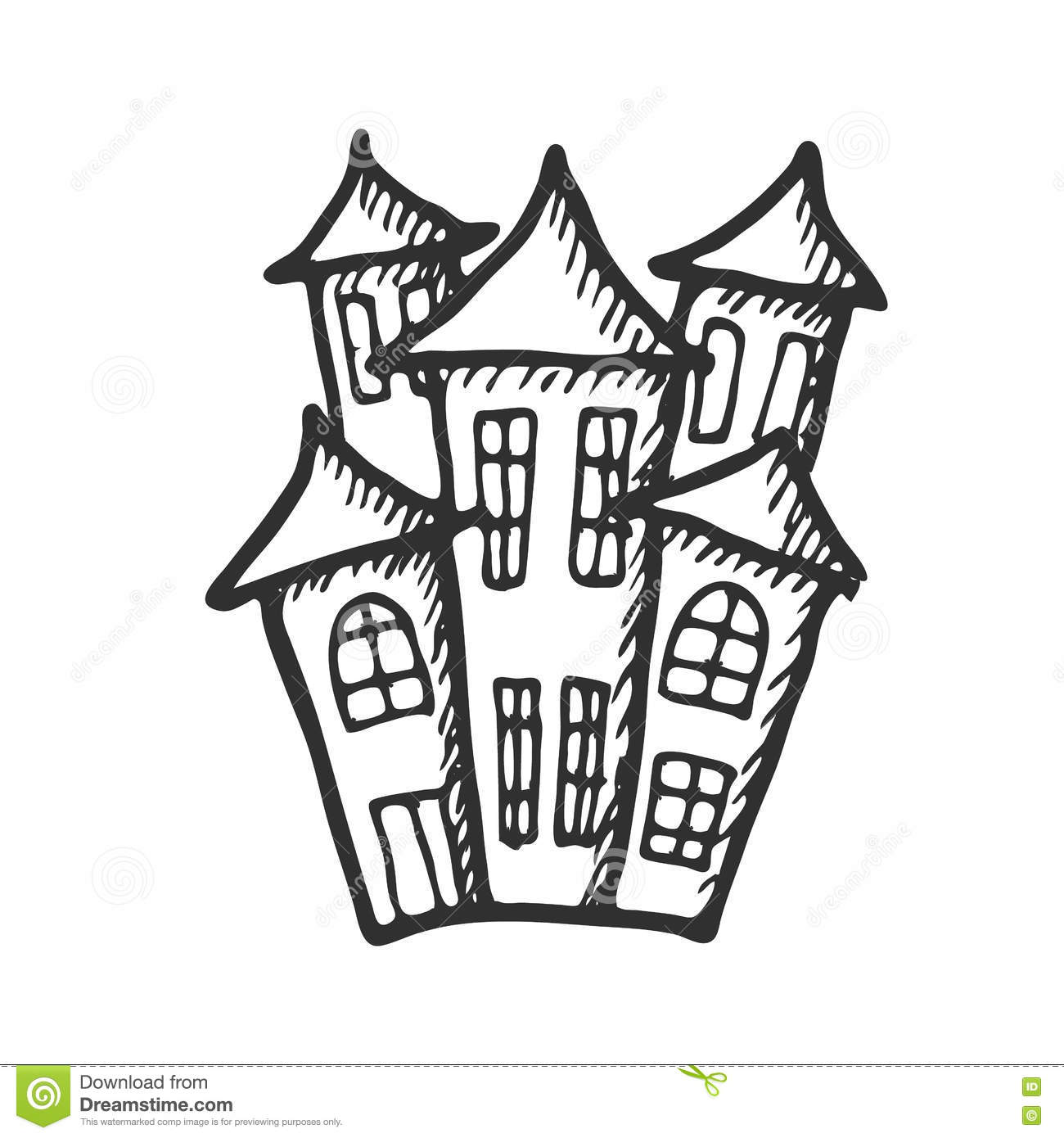 hand drawn doodle halloween castle. black and white pen objects