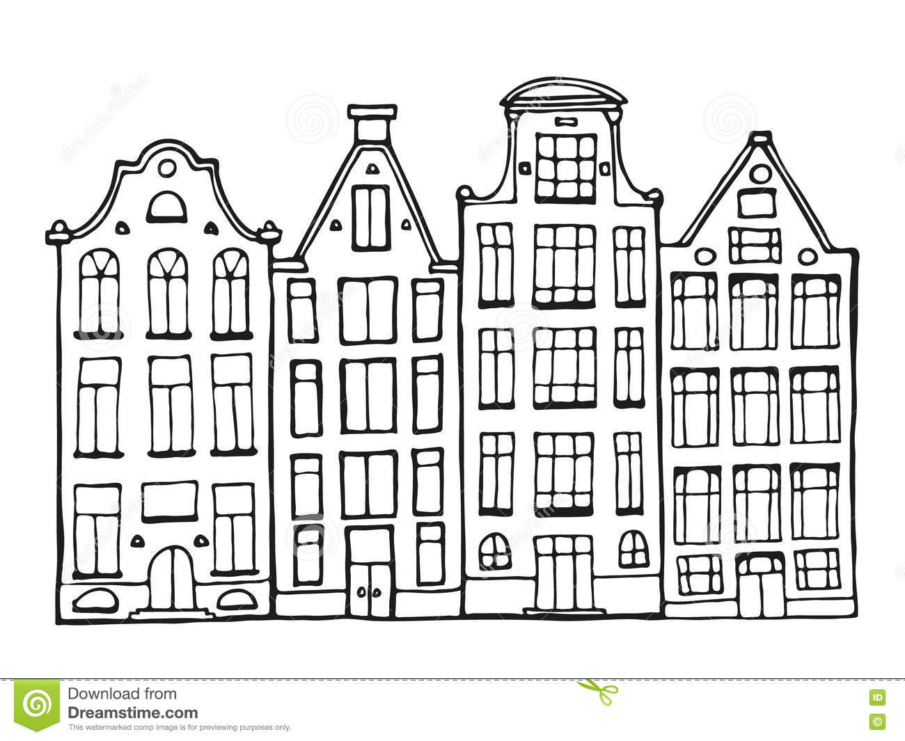 Hand Drawn Doodle Houses Stock Vector Image Of Childhood