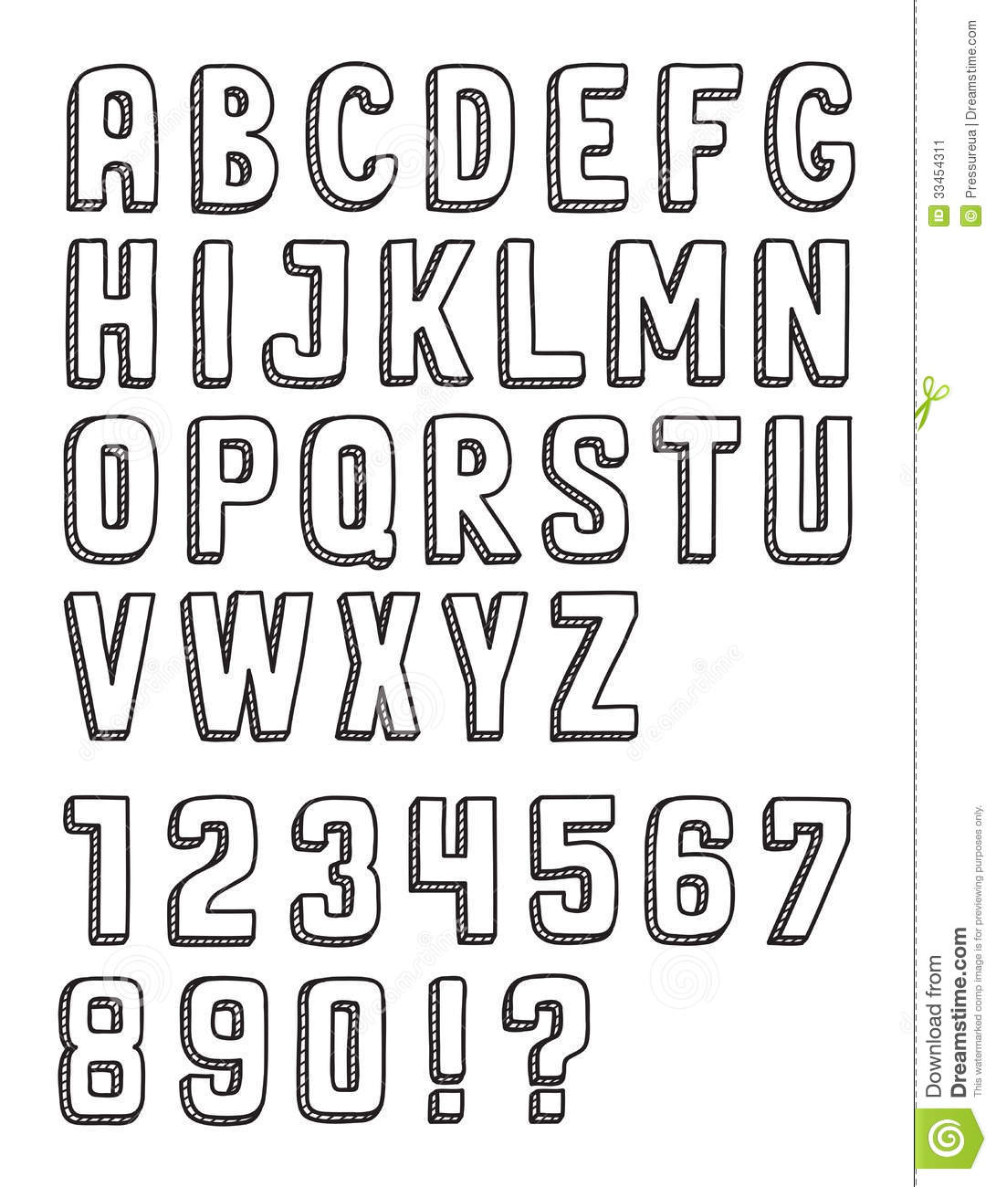 Hand drawn vector doodle letters set with numbers isolated on white