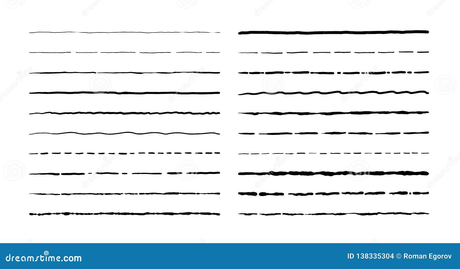 Hand drawn doodle lines. Vintage underline border elements, cartoon frame set, pencil grunge decoration. Pen stroke