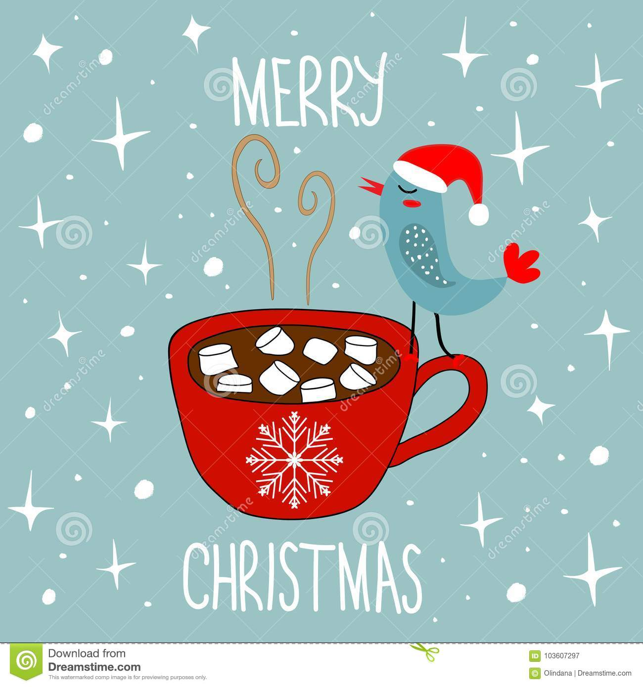 Hand Drawn Doodle Merry Christmas Card Red Mug With Hot Chocolate