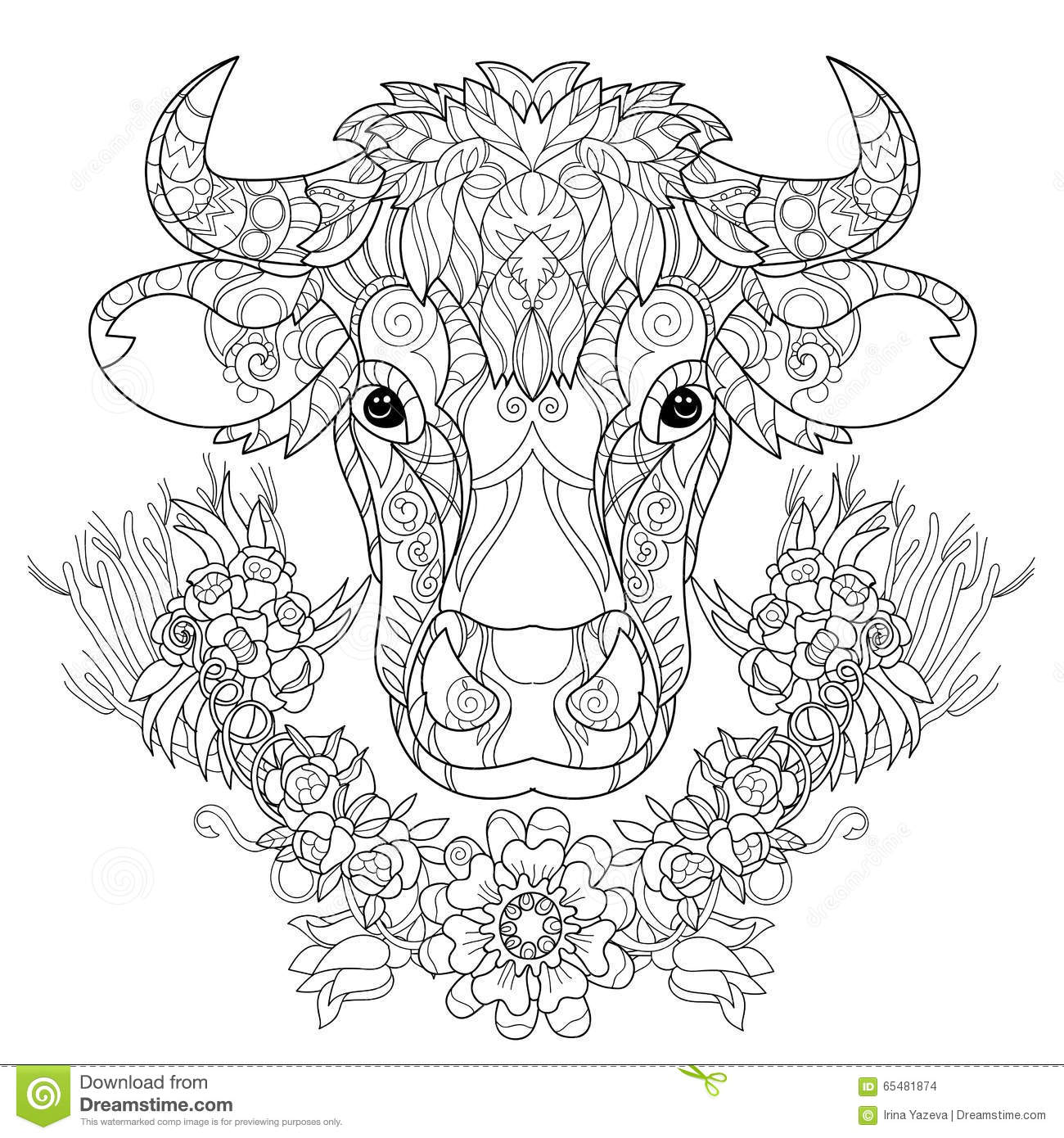 hand drawn doodle outline cow head stock vector image 65481874