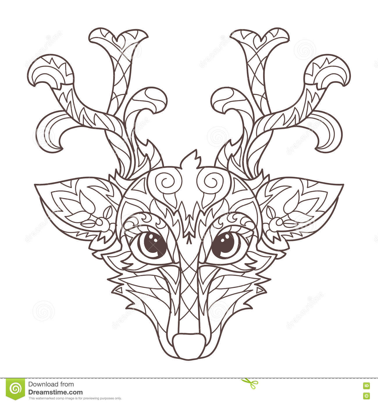 Hand Drawn Doodle Outline Deer Head Stock Vector - Illustration of ...
