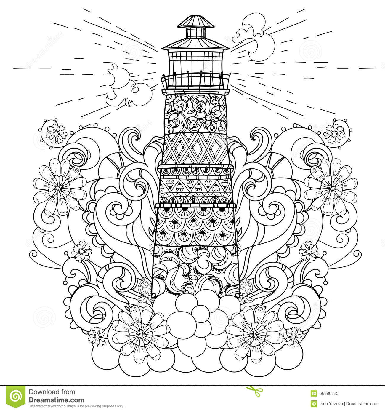 Hand Drawn Doodle Outline Lighthouse Boho Stock Vector Image 66886325