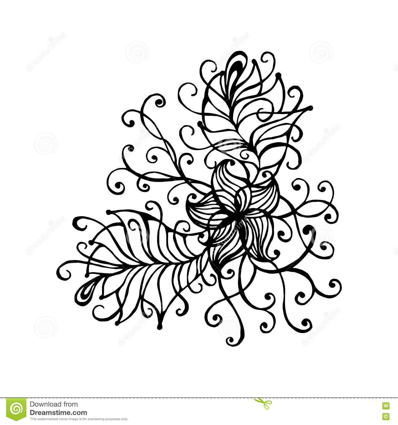 hand drawn doodle outline magic line art element with floral
