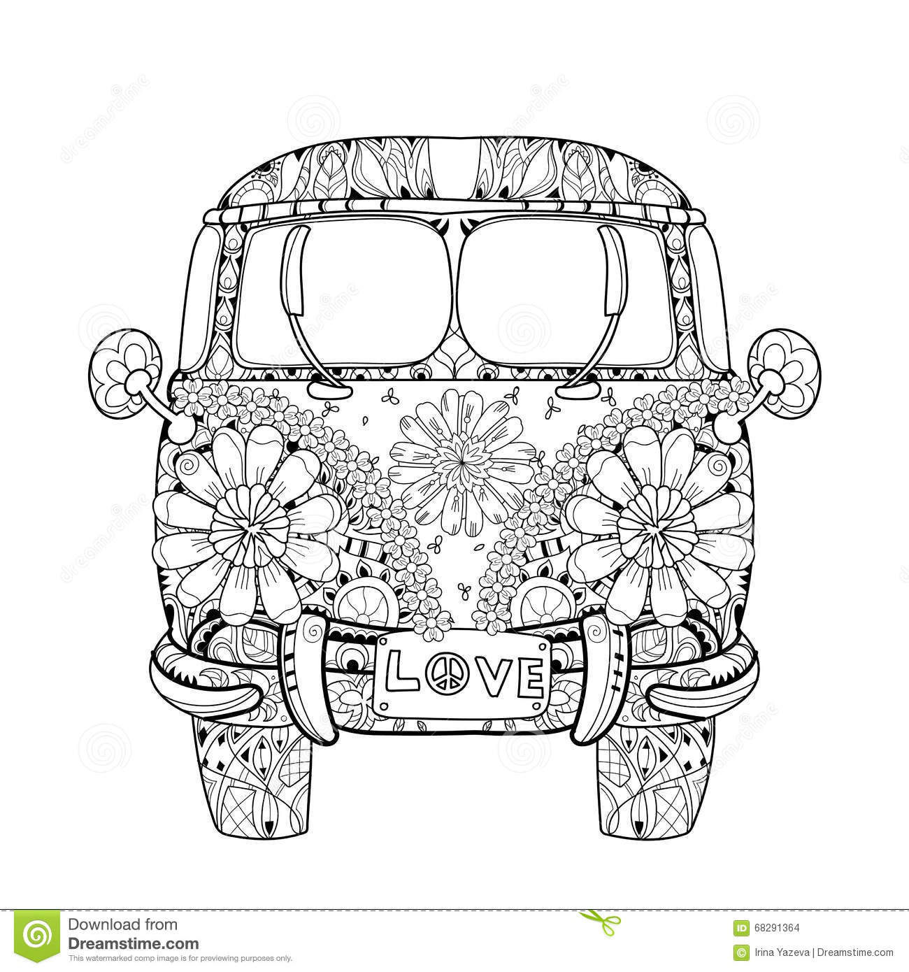 hand drawn doodle outline retro bus travel stock vector