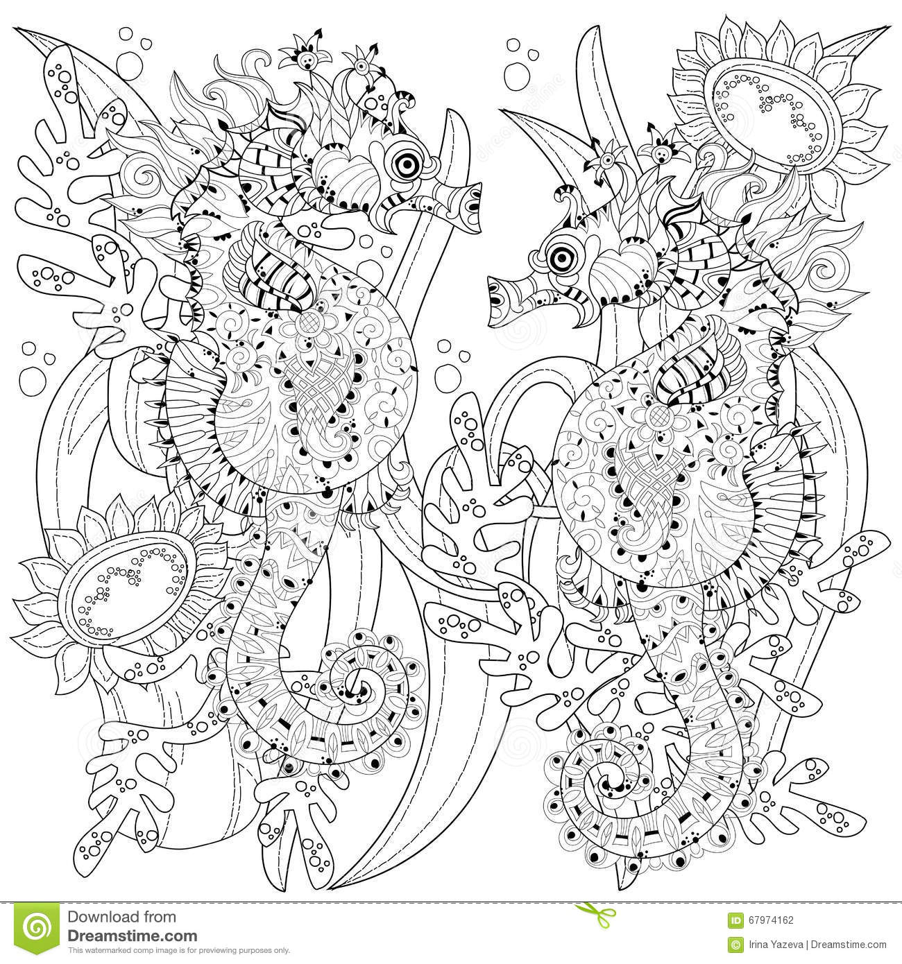 Hand Drawn Doodle Outline Seahorse Stock Vector