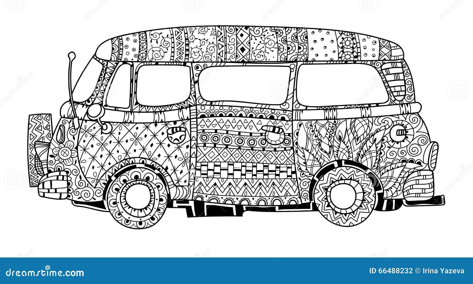 hand drawn doodle outline surf bus volkswagen stock vector