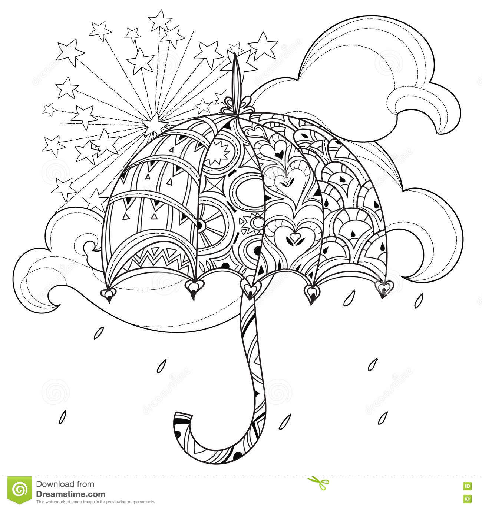 Rainy Tattoos Art: Umbrella On A Rainy Day Doodle Vector Illustration