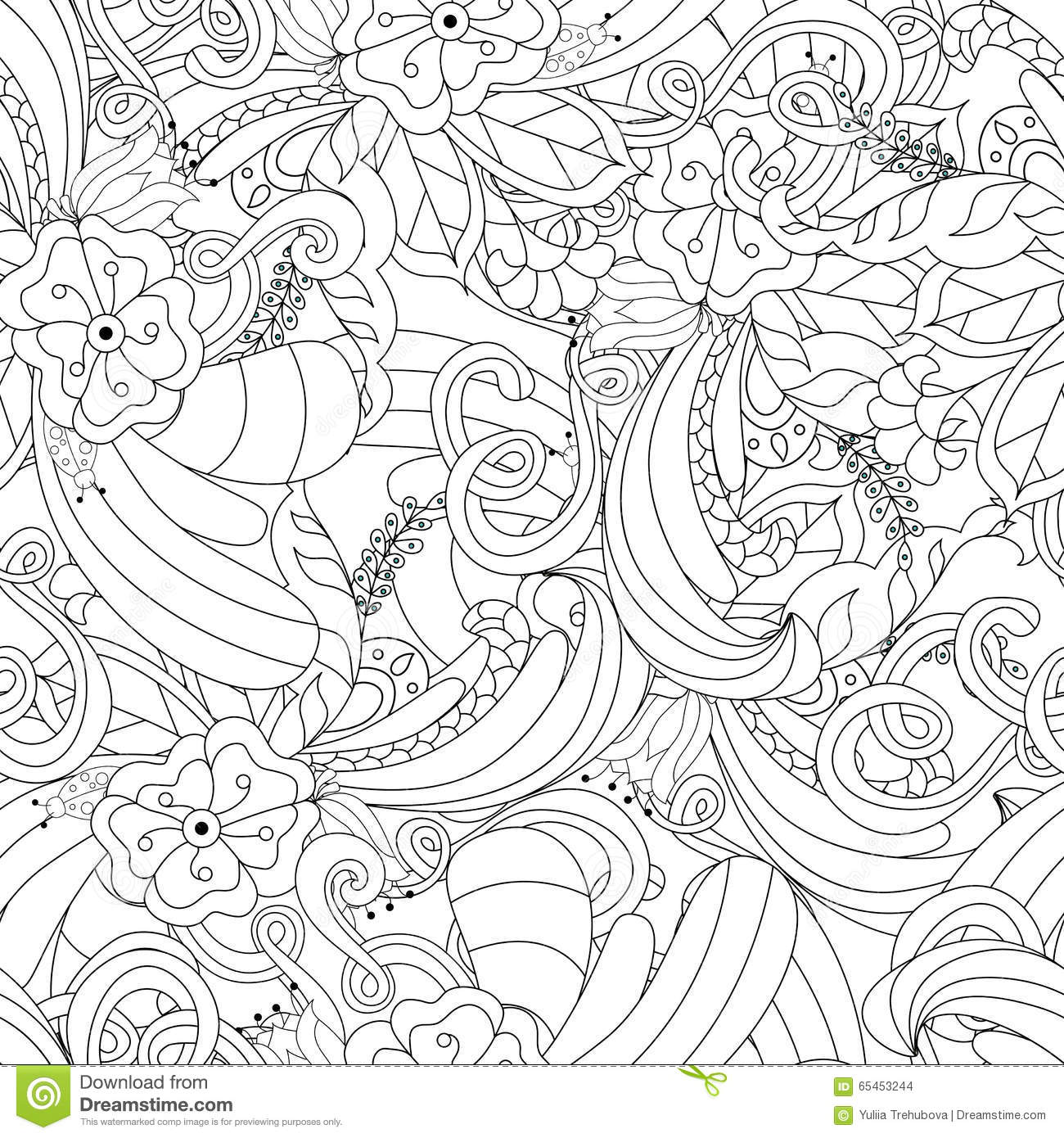 Hand Drawn Doodle Pattern In Vector. Zentangle Background. Seamless Abstract Texture. Ethnic ...