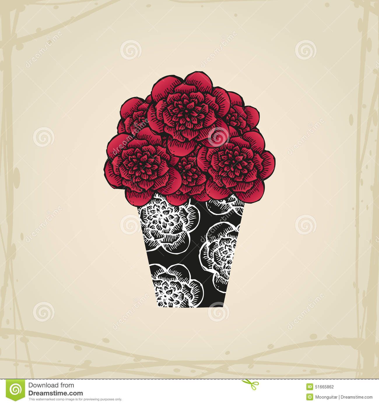 Hand Drawn Doodle Roses In Tattoo Style And Black Stock Vector ...