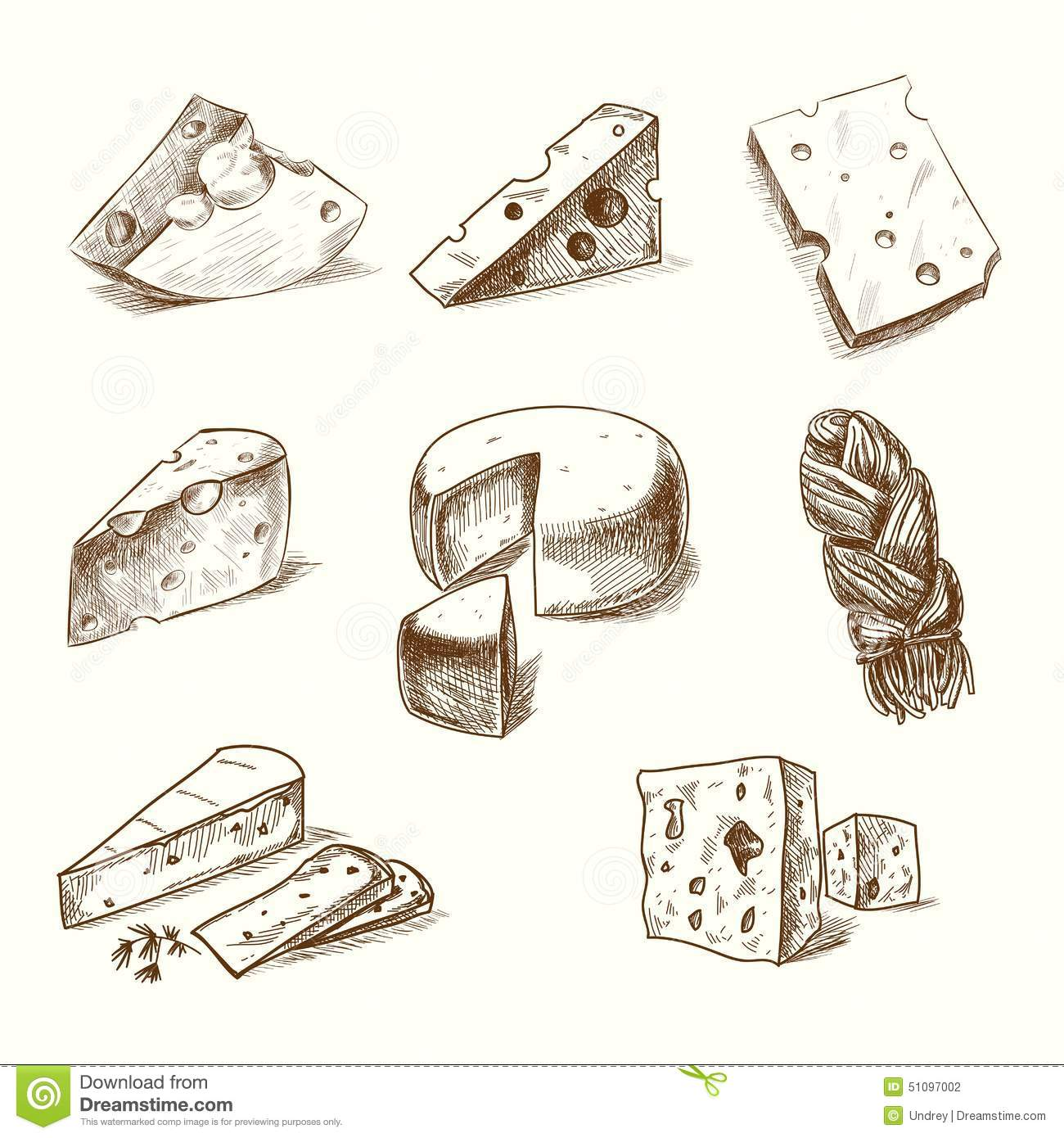 Hand Drawn Doodle Sketch Cheese With Different Stock Vector Image 51097002