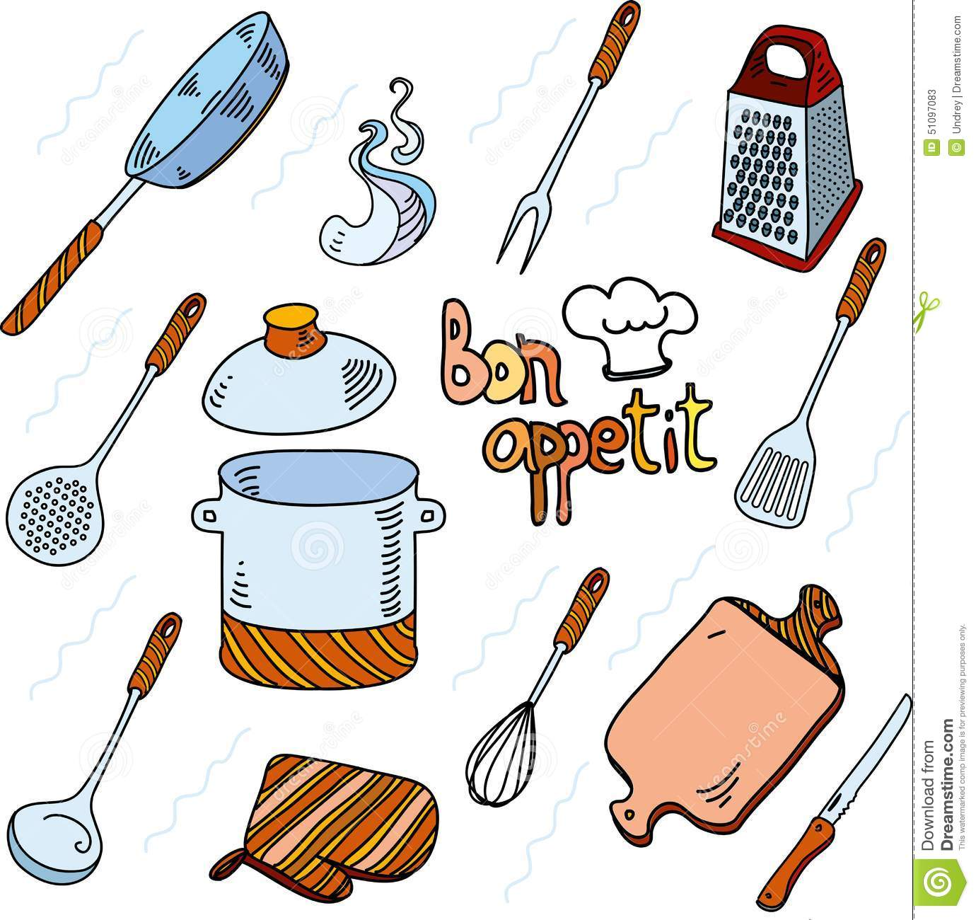 Hand Drawn Doodle Sketch Kitchen Utensils For Stock Vector ...
