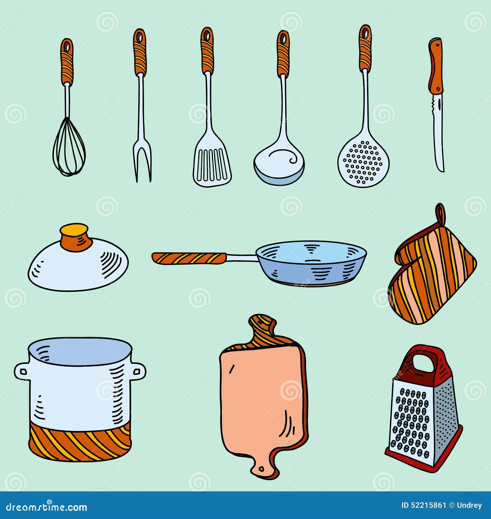 Cartoon Kitchen Tools ~ Hand drawn utensils cartoon vector cartoondealer