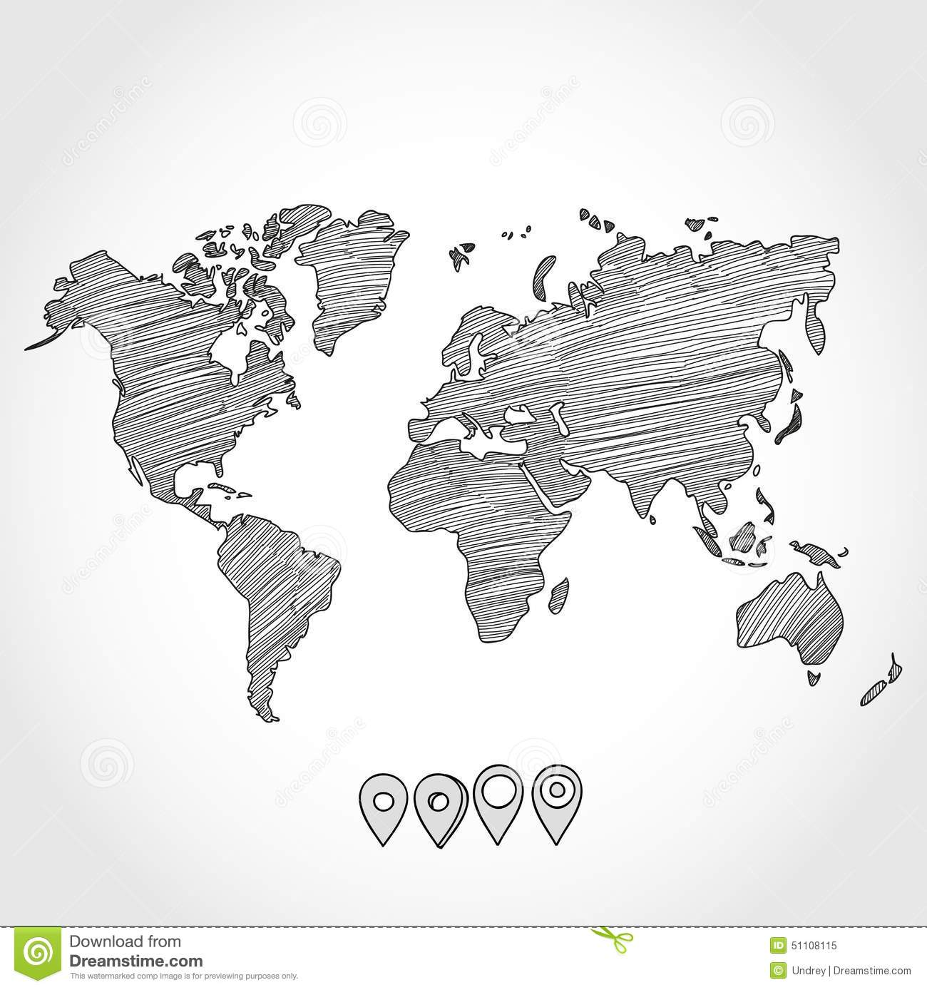 Hand Drawn Doodle Sketch Political World Map And Stock Vector