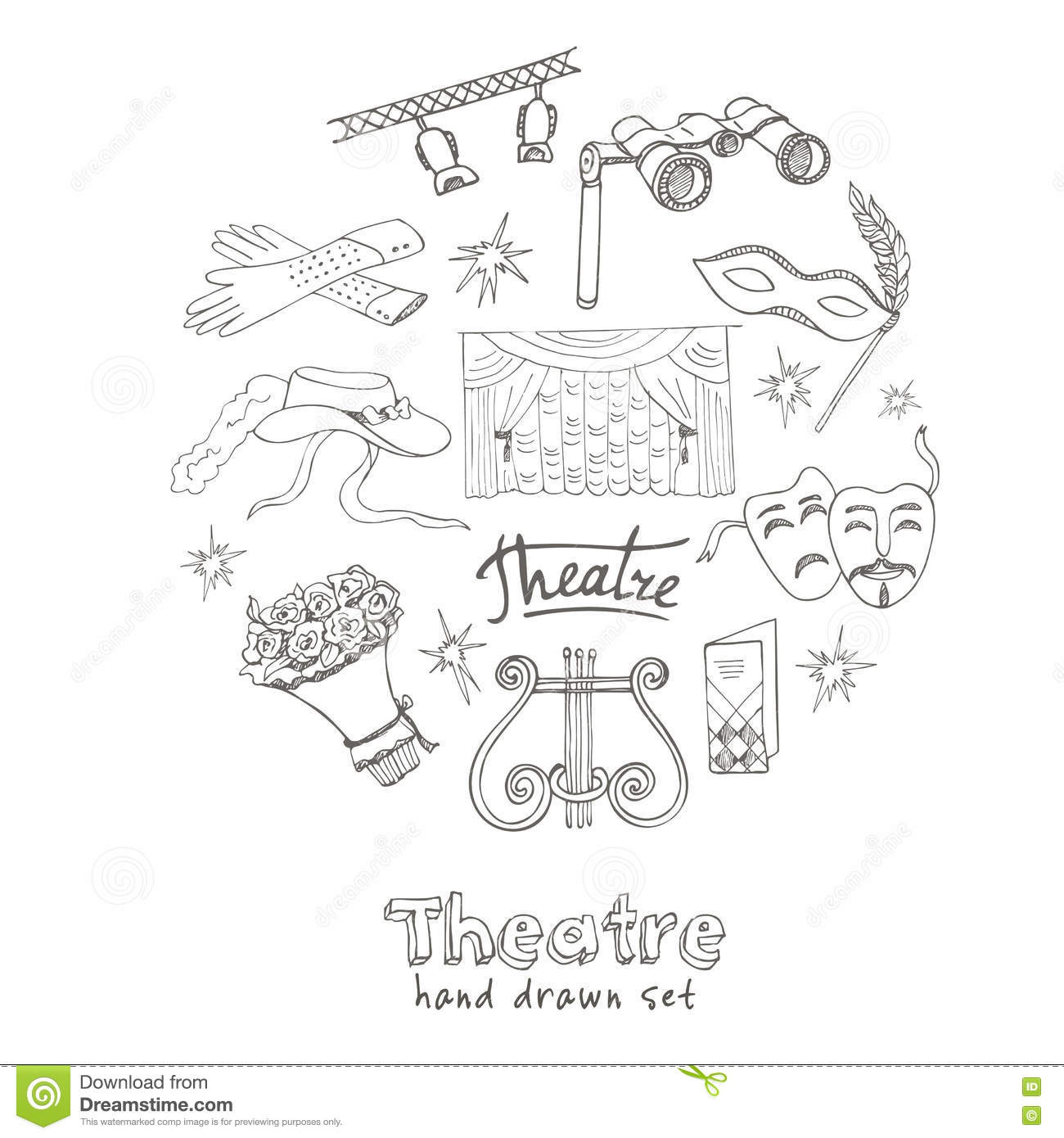 Hand Drawn Doodle Theater Set Stock Vector