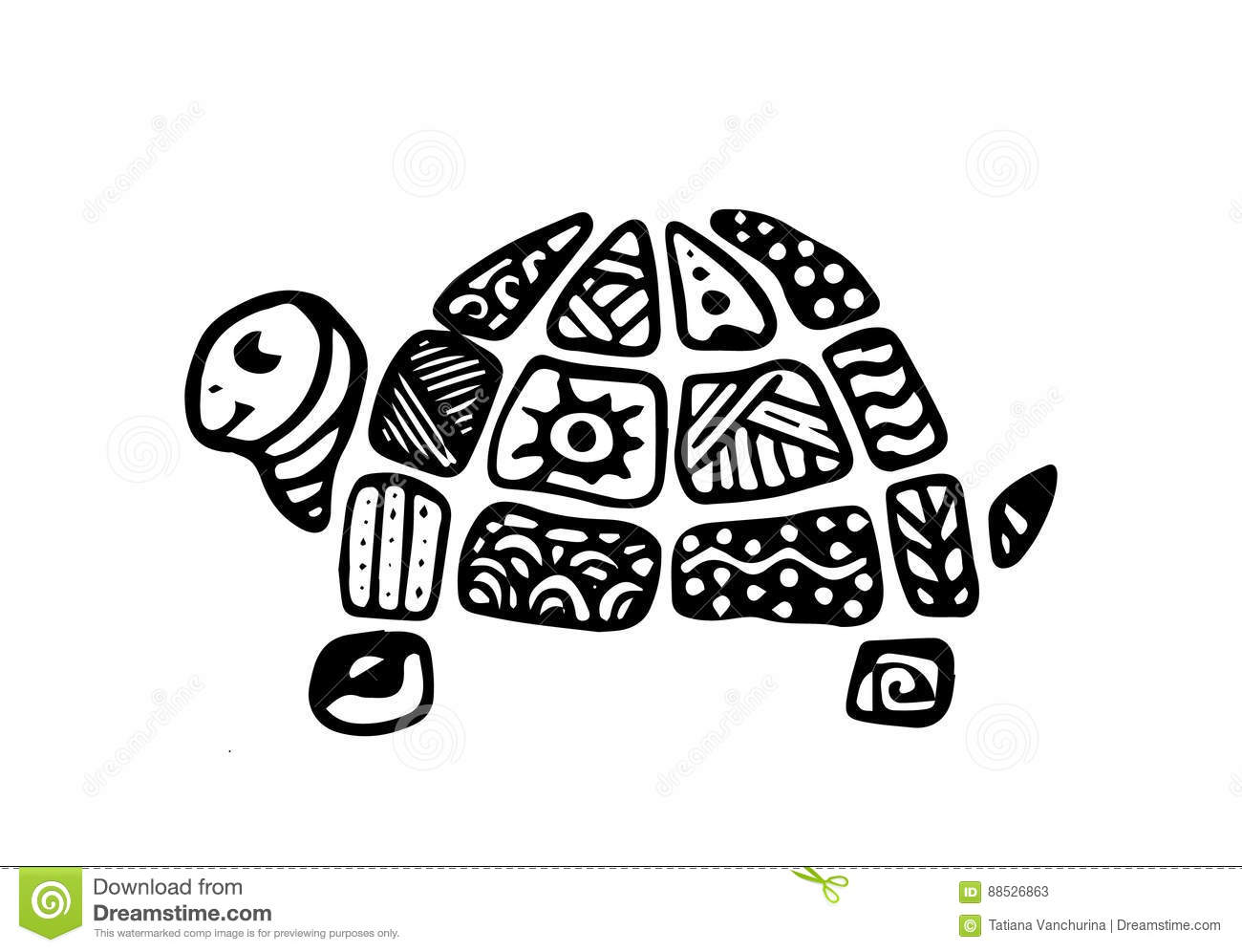 Hand Drawn Doodle Of A Turtle Pattern On The Shell Zentangle Style Kids Style Stock Illustration Illustration Of Meditation Doodledecoration 88526863