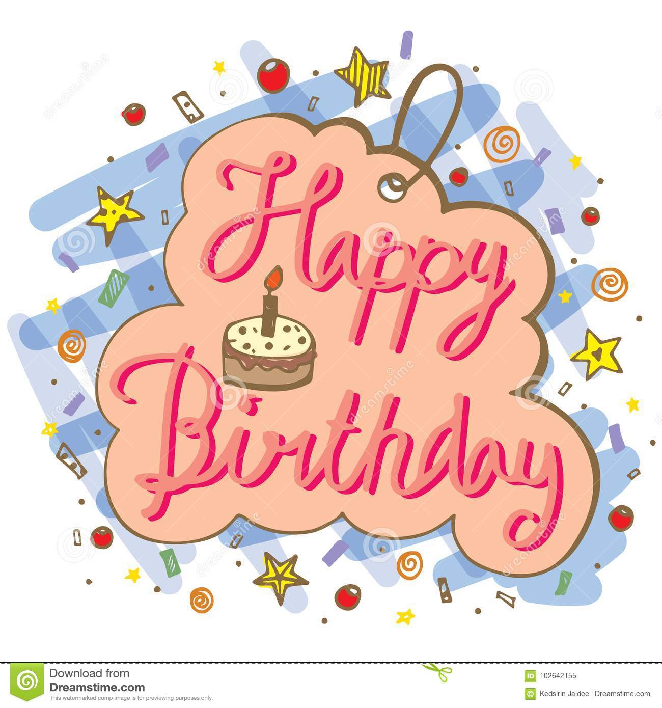 hand drawn doodle vector of happy birthday word for greeting card