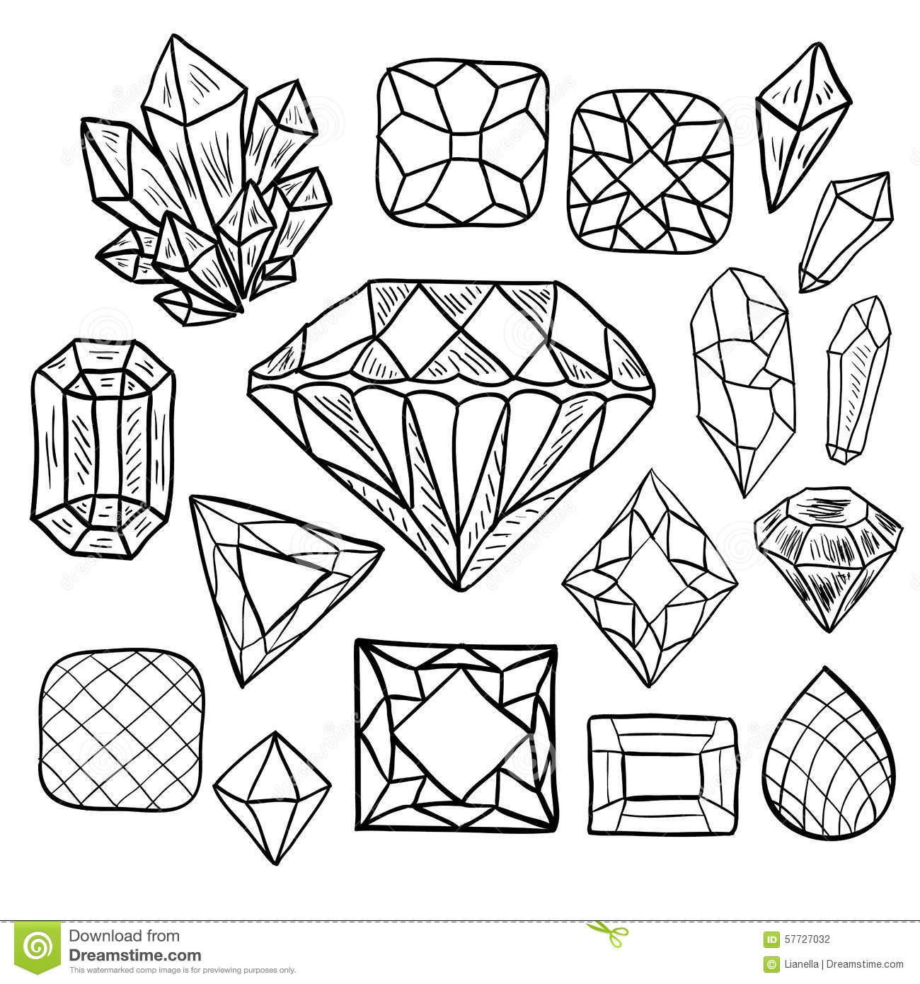 Hand drawn doodle vector jewelry set stock vector for Diamond coloring page