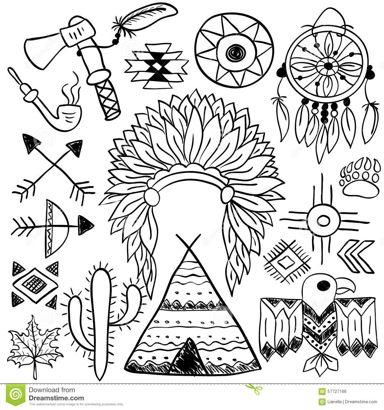 Hand drawn doodle vector native american symbols set stock vector hand drawn doodle vector native american symbols set buycottarizona