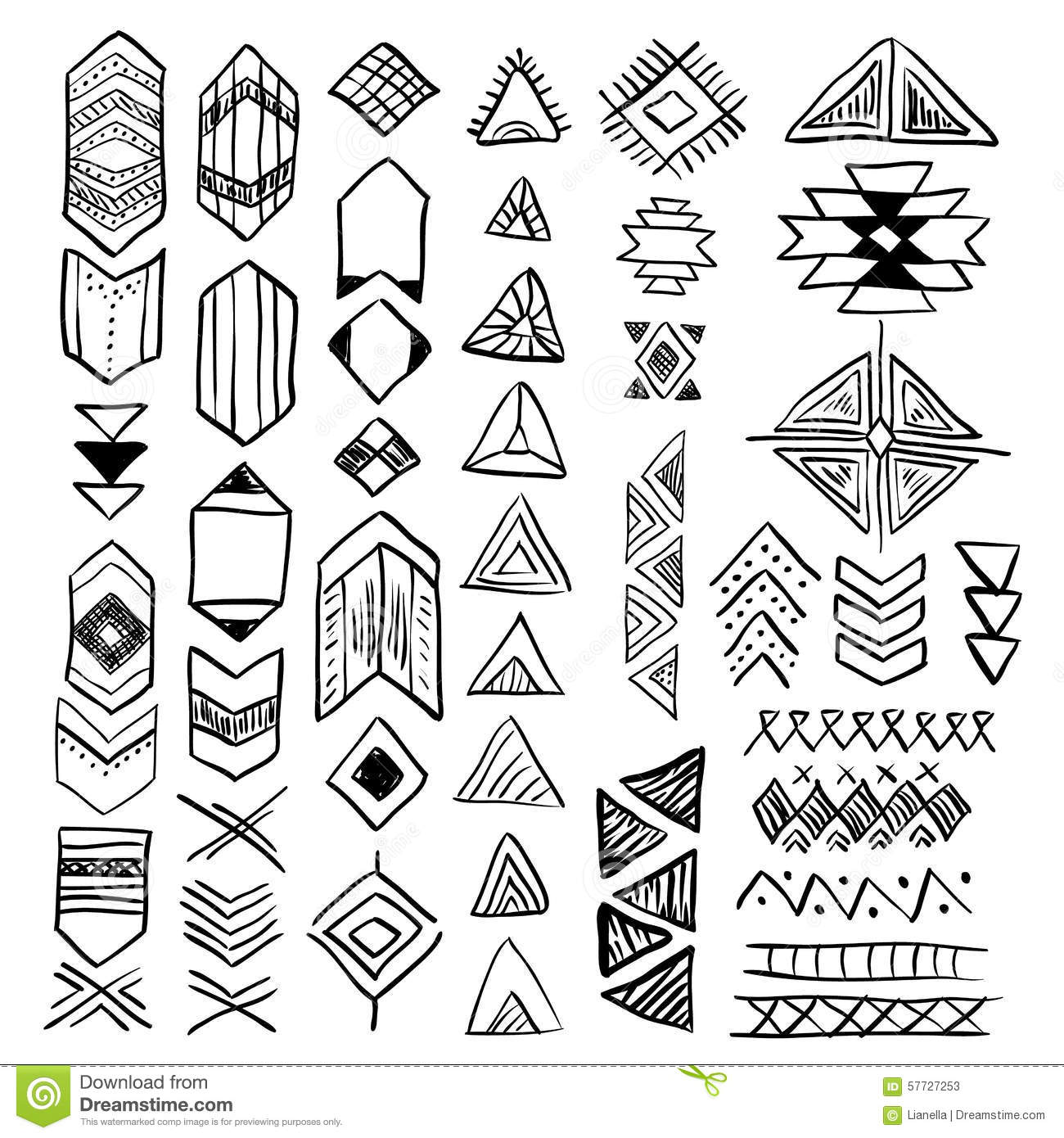 Hand Drawn Doodle Vector Native American Symbols Set Stock Vector ...