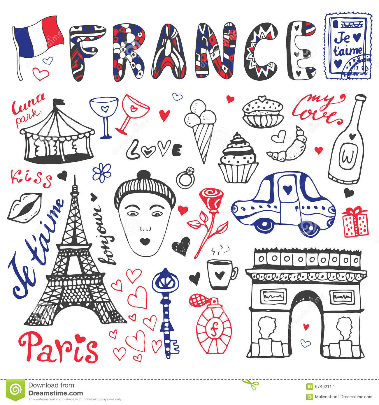 hand drawn doodles set of france eiffel tower triumphal. Black Bedroom Furniture Sets. Home Design Ideas