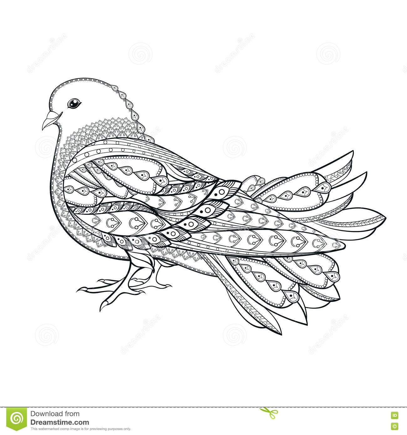 Hand Drawn Dove In Zentangle Style On A White Background. Symbo Stock Vector - Illustration ...