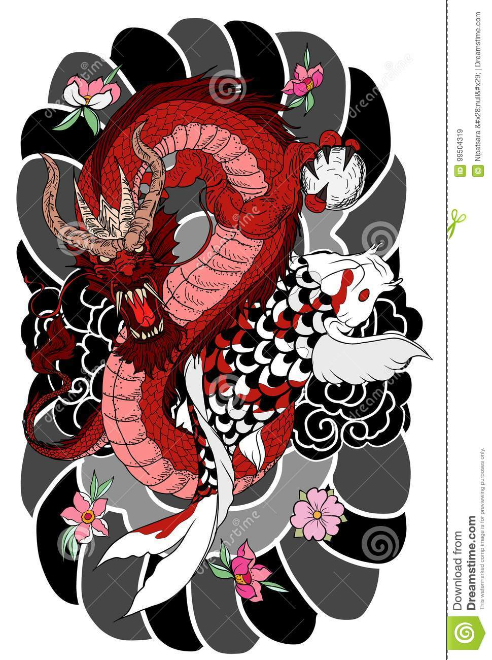 Hand Drawn Dragon And Koi Fish With Flower Tattoo For Arm, Japanese ...