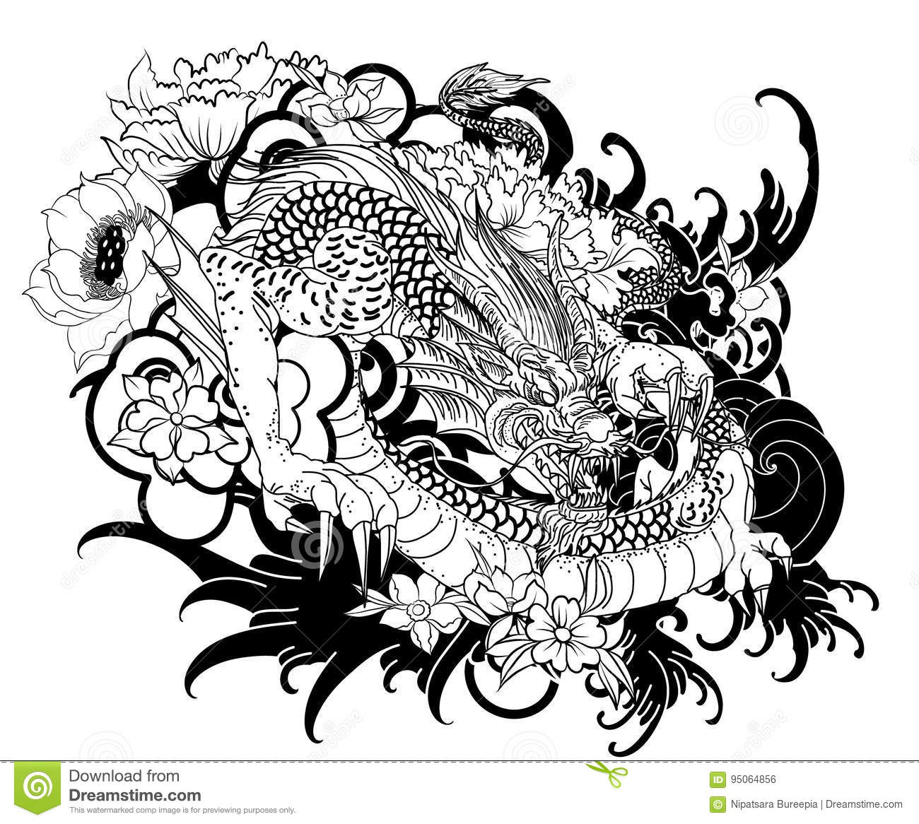 Hand Drawn Dragon Tattoo ,coloring Book Japanese Style Stock ...