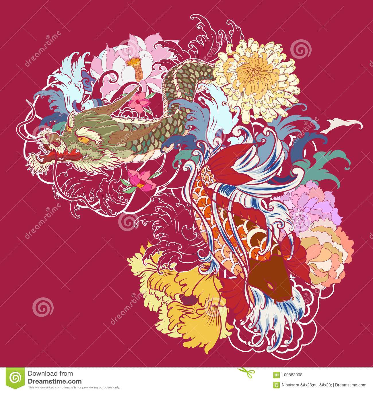 Old Dragon With Koi Carp Tattoo Japanese Style. Stock Vector ...