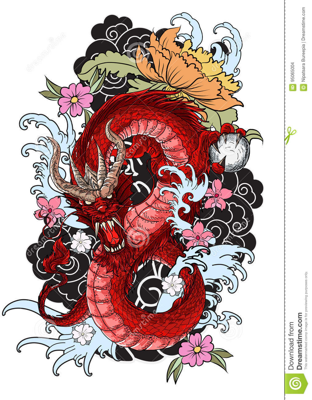 Dragon Tattoo With Flowers: Hand Drawn Dragon Tattoo ,coloring Book Japanese Style