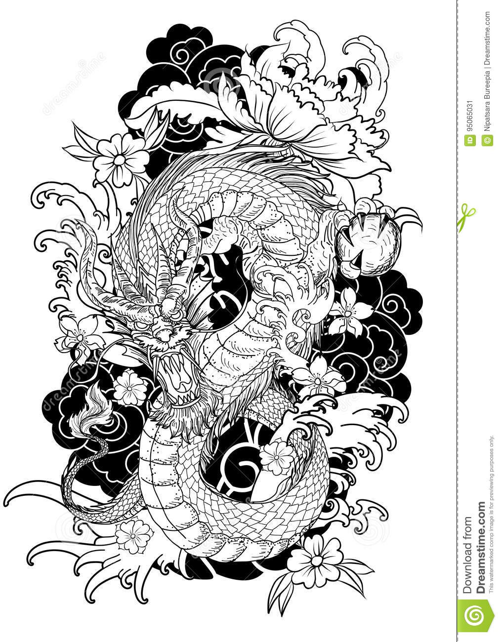 Hand Drawn Dragon Tattoo , Coloring Book Japanese Style Stock ...
