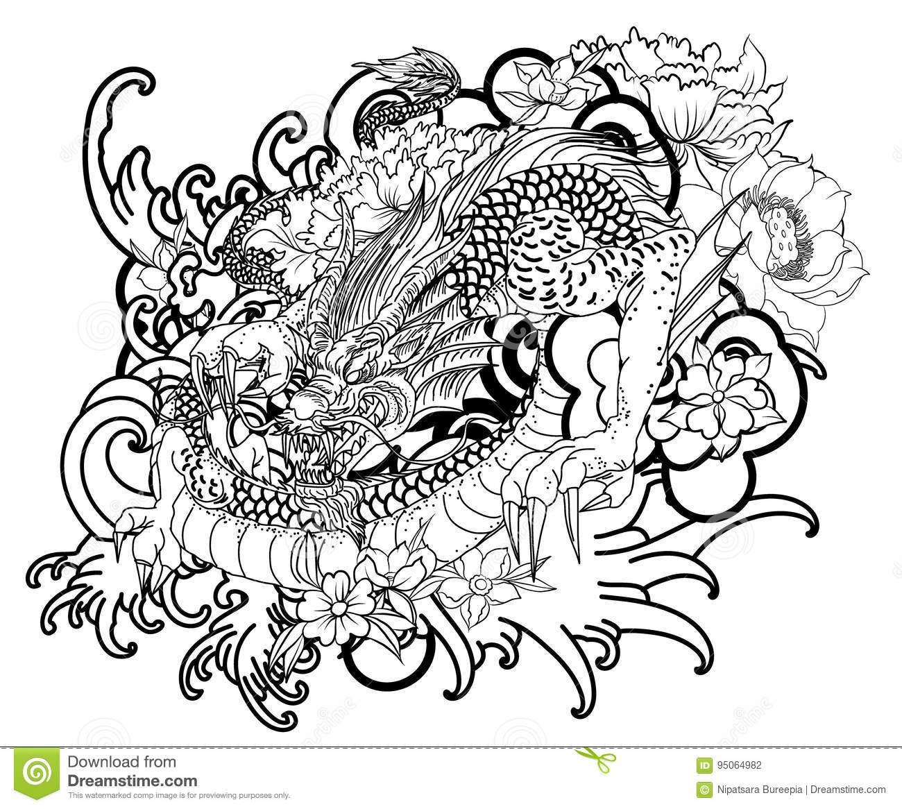 Hand Drawn Dragon Tattoo ,coloring Book Japanese Style