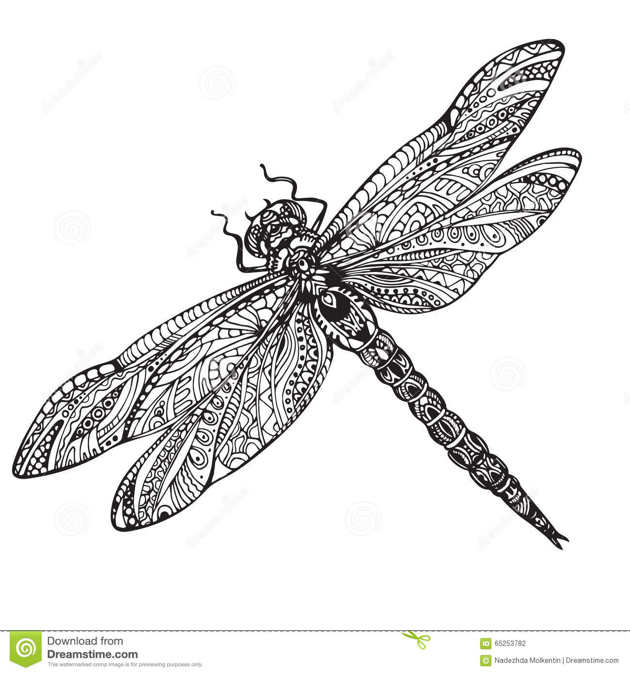 Hand Drawn Dragonfly In Zentangle Style Stock Vector Image 65253782
