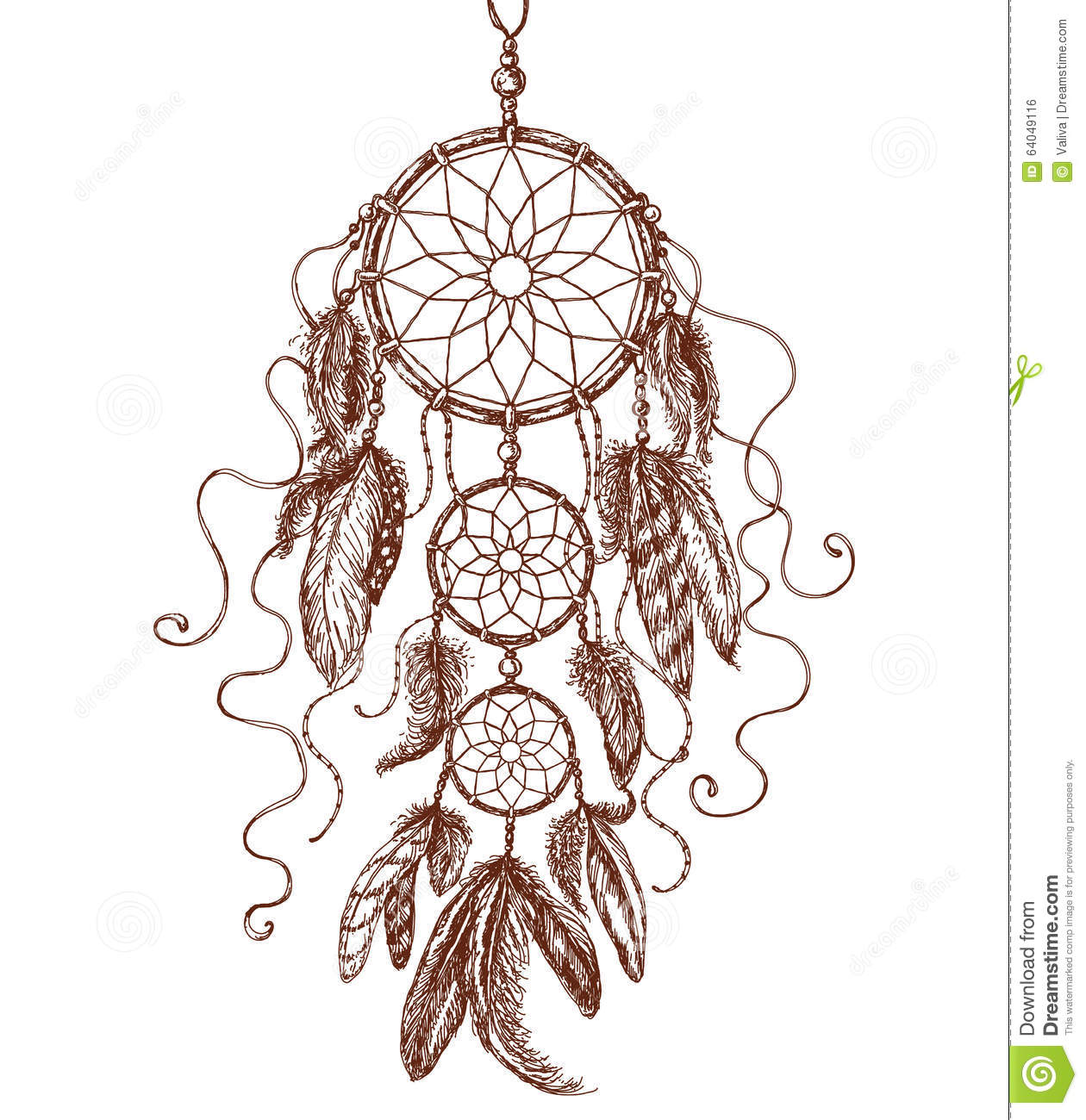 Hand Drawn Dream Catcher Stock Vector Image 64049116