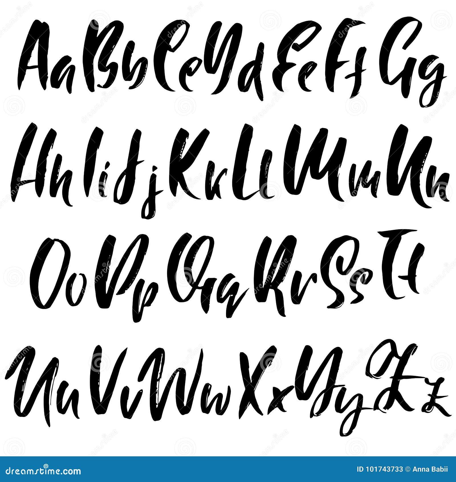 Hand Drawn Dry Brush Font Modern Lettering Grunge Style Alphabet Calligraphy Script Vector Illustration