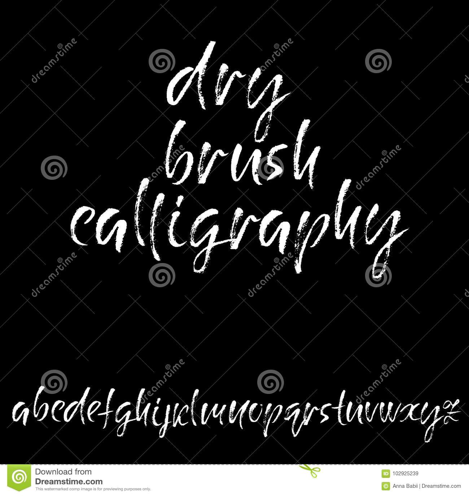Hand lettering alphabet modern calligraphy vector