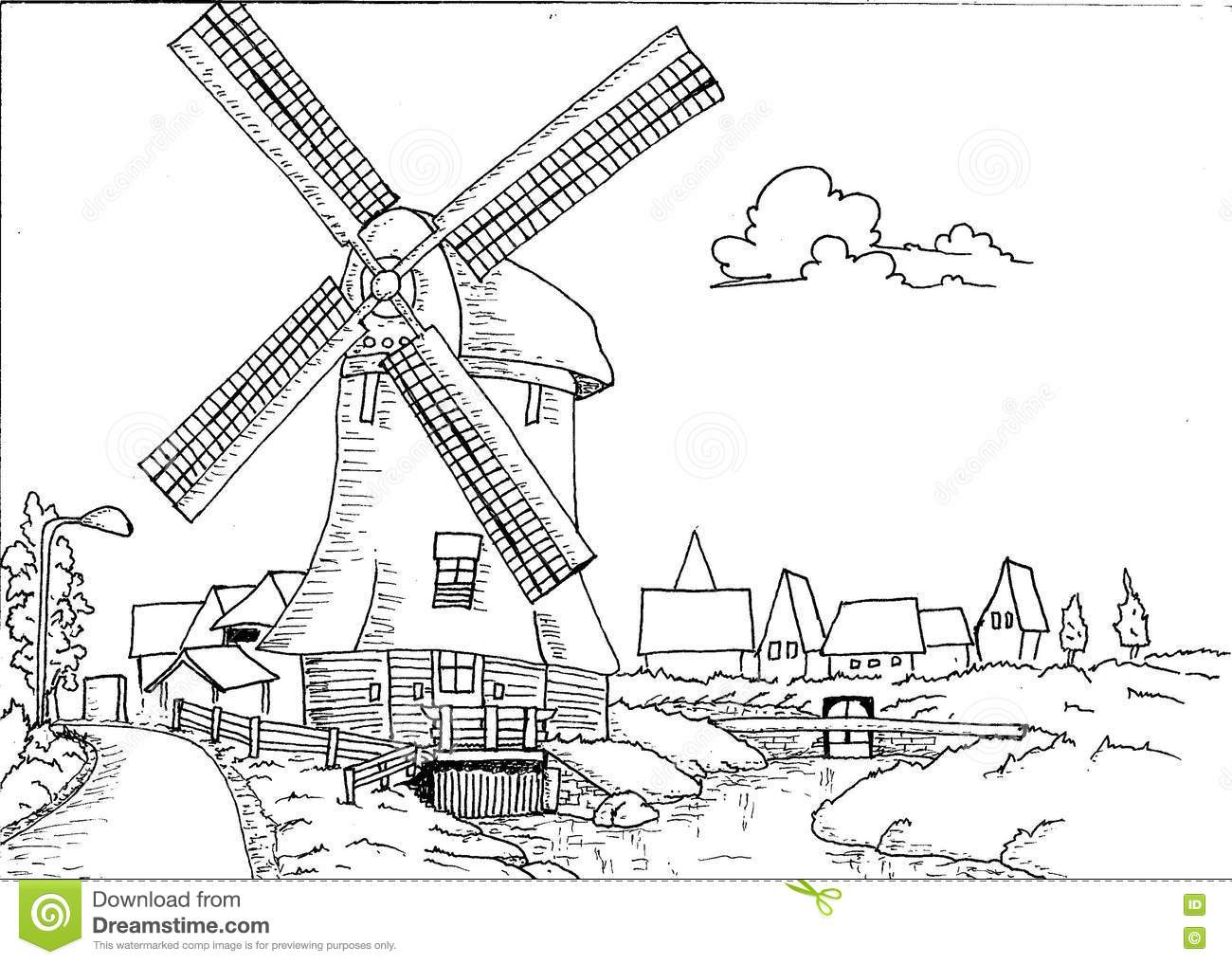 Hand Drawn Dutch Landscape With Mill