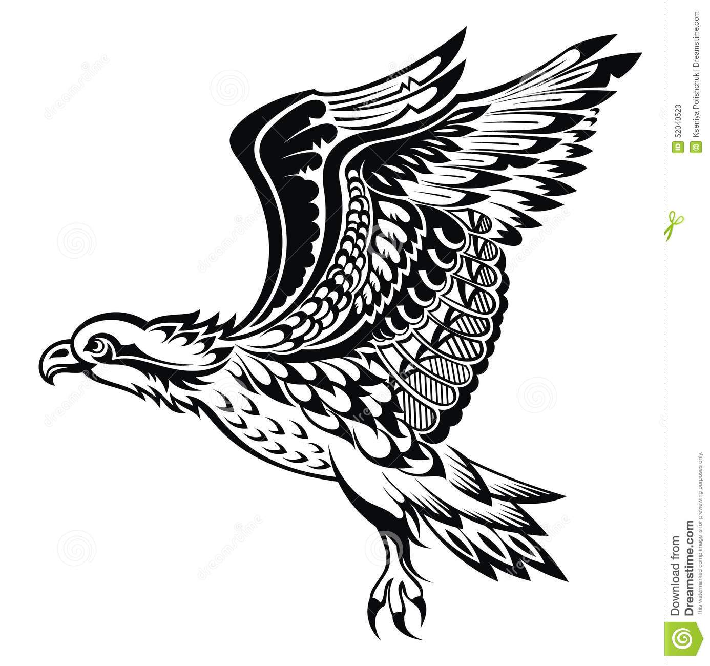 Eagle Tattoo Line Drawing : Hand drawn eagle tattoo bird stock vector image