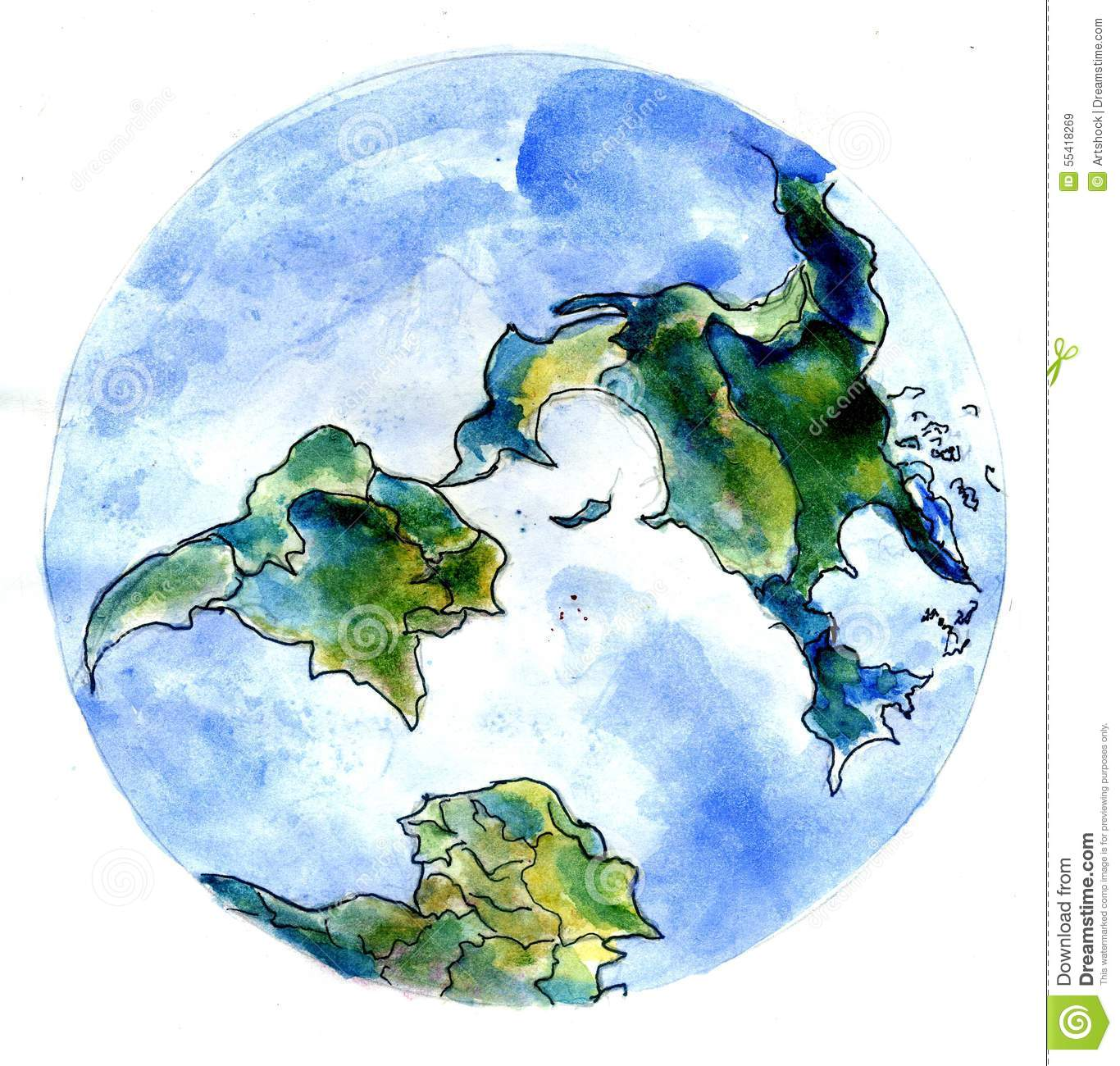 Stylized Watercolor Painting Of The Earth Planet Hand Drawn