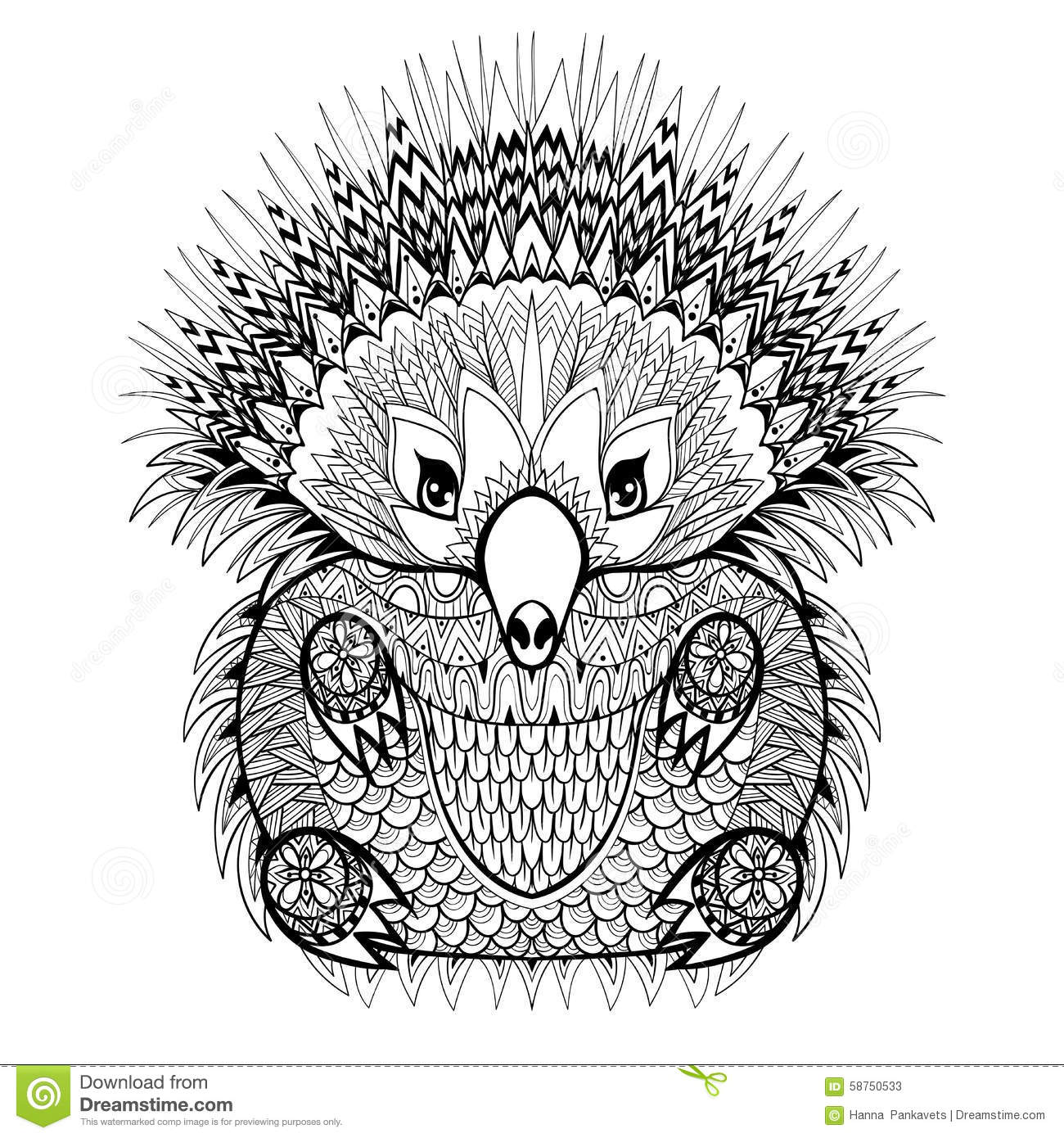 hand drawn groundhog for coloring pages in doodle stock