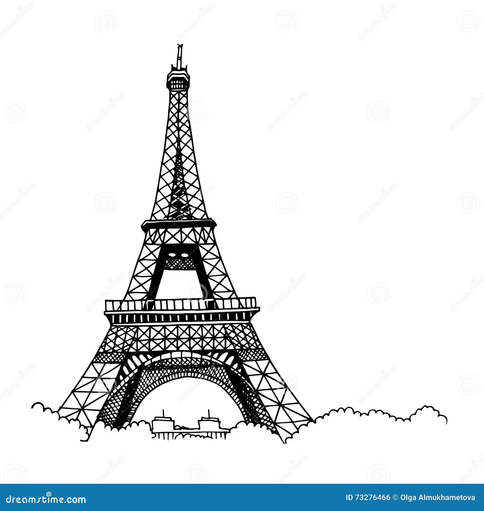 hand drawn eiffel tower stock vector  illustration of