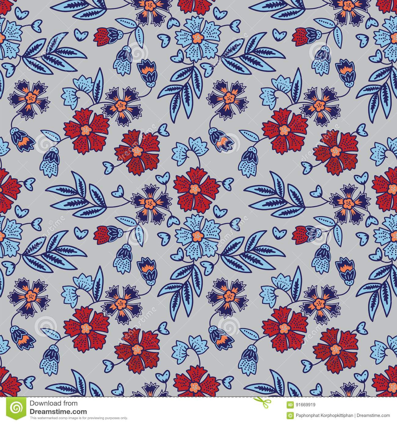 Hand Drawn Elegant Floral Batik Pattern Stock Vector