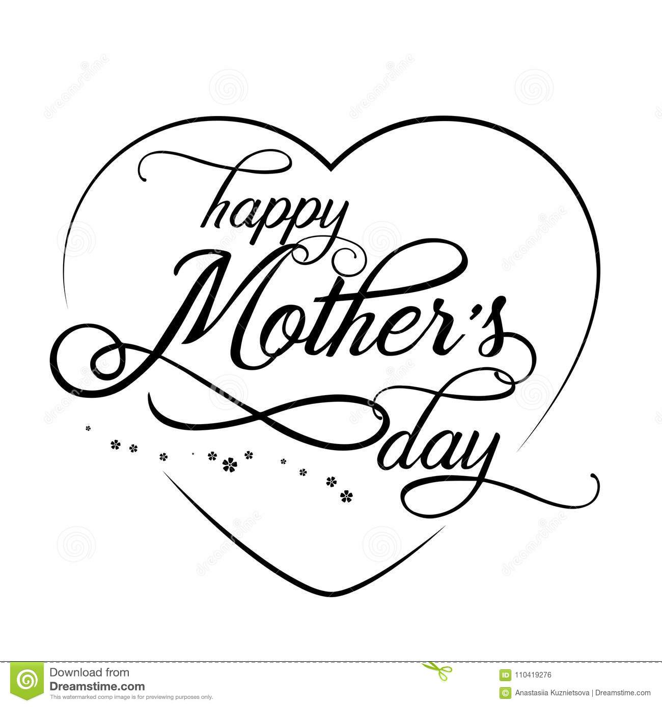 hand drawn elegant modern lettering of happy mother s day isolated Happy Mother's Wishes hand drawn elegant modern lettering of happy mother s day isolated on white background