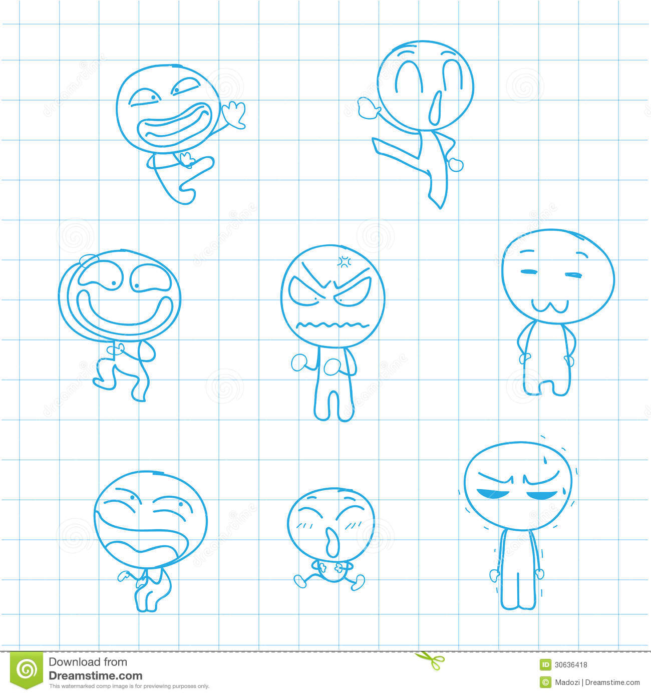Drawing Line Graphs By Hand : Hand drawn emotion action cartoon stock vector image